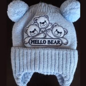 """Шапка детская вязаная на х/б подкладе  """"Три медведя"""" 3-6 мес."""