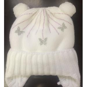 Шапка на  меховой подкладке «Бабочки-Стразы» на новорожденного